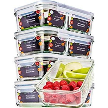 [5 Pack] Glass Meal Prep Containers Glass 2 Compartment - Glass Food Storage Containers - Glass Storage Containers with Lids - Divided Glass Lunch Containers Food Container - Glass Food Containers