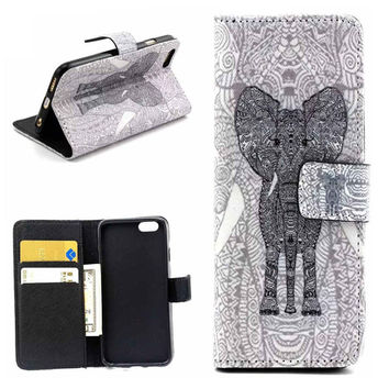 Elephant Print Leather creative case Cover Wallet for iPhone 6 / iPhone plus