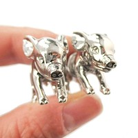 Fake Gauge Earrings: 3D Piglet Pig Shaped Animal Front and Back Two Part Earrings in Shiny Silver
