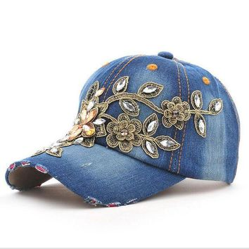 DCCKWJ7 2017 Fashion  Full Crystal Floral  Sport Outdoor Denim Baseball Cap Bling Rhinestone hip hop Adjustable Snapback Hat for women
