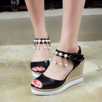Women Wedges Sandals Pearl Tassel Platform High-heeled Shoes