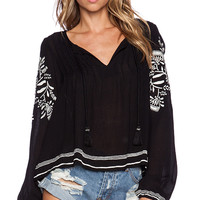 Tularosa Rose Embroidery Top in Black