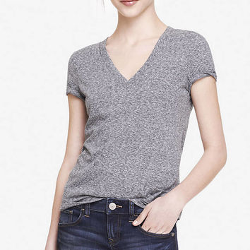 HEATHERED FITTED DEEP V-NECK TEE from EXPRESS