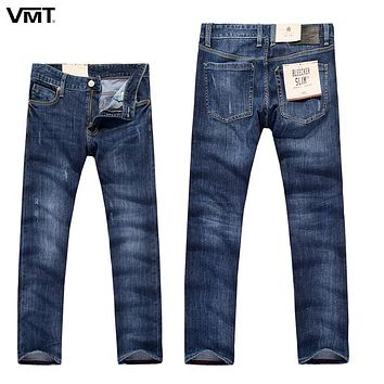New Casual Business Men Jeans Elasticity Cotton Plaid Denim Pants Slim Regular Washed Stretch Trousers Male