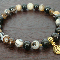 Men's Strength Mala Bracelet - Black Sardonyx, Banded Onyx, & Om Mala Bracelet - Yoga, Buddhist, Meditation, Prayer beads, Jewelry