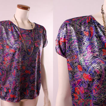 Vintage 80s - Purple & Red Abstract Floral Paisley Print - Shiny Metallic Silver Paint Splatter - Cap Sleeve - Blouse Top Shirt