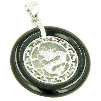 Amulet Dragon Magic Black Jade 925 Greek Style Pendant