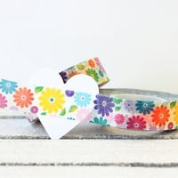 Floral Washi Tape,  Washi Tape, Paper Tape, Planner Tape, Gift Wrap, Craft Tape, Embellishment, Japanese Tape, Planner Decoration