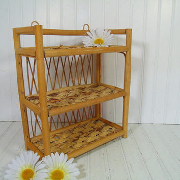 Vintage Bamboo & Woven Wicker Triple Storage Shelf - Retro 3 Level Wall Hanging Organizer Unit - Shabby Chic Chippy Cottage Style Storage