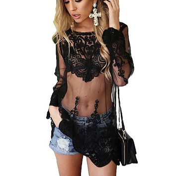 Hollow Out Embroidery Mesh Lace Dress Women Long Sleeve Transparent Mini Sexy Dresses Party Elegant Dress