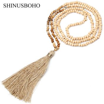 SHINUS BOHO Classic Necklaces for Women 4MM Wooden Beads & Natural Stone Strand Statement Necklace Femme Yoga Meditation Jewelry