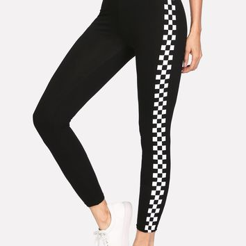 Checkered Side Panel Stretch Leggings