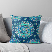 'Bohemian Blue Mandala ' Throw Pillow by Sarah Oelerich