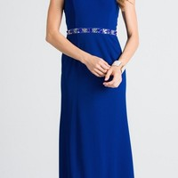 Strapless Long Column Formal Dress Bead Embellished Waist Royal Blue