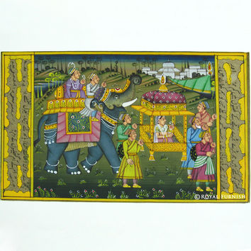 Rajasthani Traditional Mughal Procession Miniature Painting Wall Indian Decor Art
