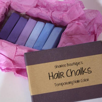 Purple/Periwinkle Colored Hair Chalks - 6 Pack - Temporary Color Pastels, Shades of Purple & Periwinkle Blue