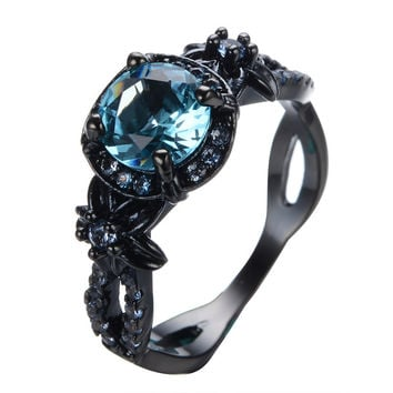 New Sapphire Ring Cool Style Female Male Wedding Jewelry Black Gold Filled Zircon Stone Ring Promotion Aneis Feminino RB0432