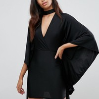 NaaNaa Plunge Front Mini Dress with Cape Detail at asos.com