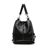 On Sale Comfort College Hot Deal Back To School Casual Korean Bags Rivet Stylish Backpack [6542321155]