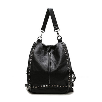 On Sale Comfort College Hot Deal Back To School Casual Korean Bags Rivet Stylish Backpack [4915432964]