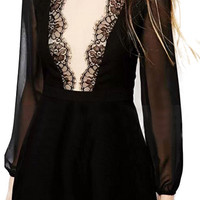 ROMWE Lace Panel Backless Black Playsuit