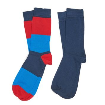 Cleadon Socks Gift Pack in Navy Stripe and Navy by Barbour