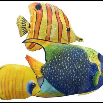 Tropical Fish Metal Wall Art - Brightly Hand Painted Metal Art, Garden Decor - Metal Wall Hanging - Tropical Poolside Decor - K-150-15