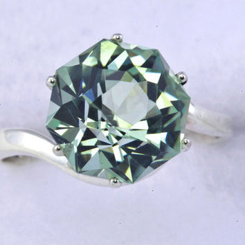 Green Amethyst Alternative Color Engagement Ring Rose Petal Custom Cut