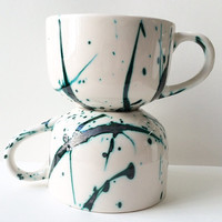 SINGLE - copper splash latte mug - hand painted