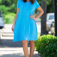 The Perfect Piko Short Sleeve Swing Dress-Bright Blue – Simply Dixie Boutique