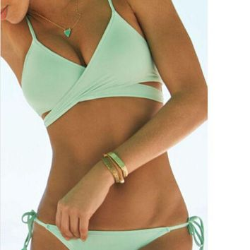 PEAPIH3 Cut Out Bandage Bikini Set Swimsuit Womens with Summer Gift Random Necklace