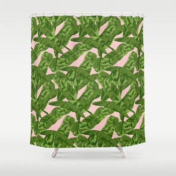 Banana Leaves Shower Curtain by Simi Design