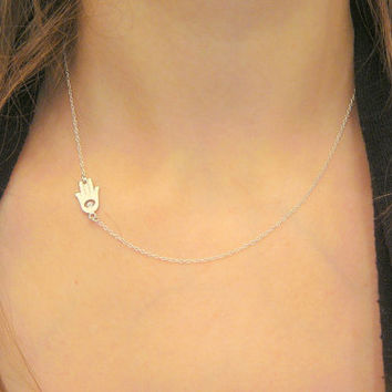 Sterling Silver Crystal Sideways Off Center Hamsa Hand Necklace, Dainty necklace, Fashion Jewelry Trendy Jewelry, Evil Eye Necklace