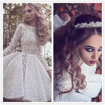 New Arribal White Lace Long Sleeves Cocktail Party Dresses 2016 High Neck Pleat Knee Length Short Prom Gown Custom Formal Dress