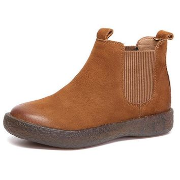 Leather Slip On Casual Flat Chelsea Boots