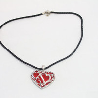 Red Enamel Heart Necklace -  Black Leather Cord - Gift for her- Valentine Gift- For Red - Black Color lovers