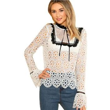 RWL BOUTIQUE Sexy Womens Tops and Blouses White Long Sleeve Contrast Frill Detail Eyelet Guipure Lace Top Flounce Sleeve Blouse
