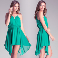 Green  Beaded Harness Wrap Ruched Flounce Mini Dress