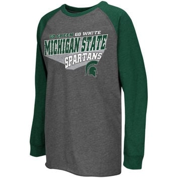 Michigan State Spartans Youth Turbo Long Sleeve T-Shirt – Charcoal - http://www.shareasale.com/m-pr.cfm?merchantID=7124&userID=1042934&productID=547706057 / Michigan State Spartans
