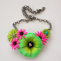 Statement necklace enamel flower bib by ChicMaddiesBoutique