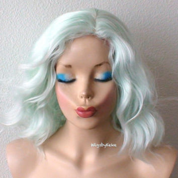 Pastel wig. Mint color wig. Beach waves hairstyle wig. Short wig. Lolita wig. Cosplay wig.