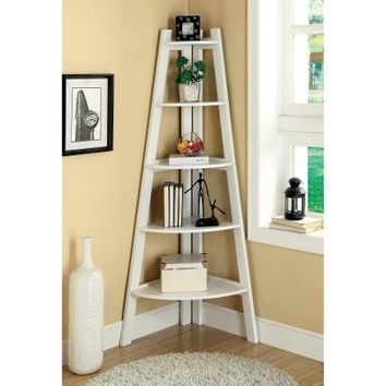 Merill 5-Tier Ladder Corner Shelf - White - Bookcases at Hayneedle