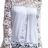 Lovaru Women's White Lace Sleeve Chiffon Patchwork Shirt Fashion Blouse