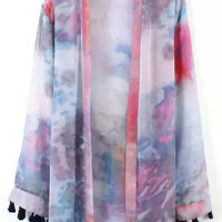 Purple Dip-Dyed Long Sleeve Kimono with Tassels