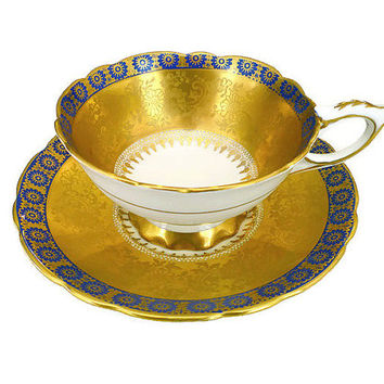 Royal Stafford, Tea Cup and Saucer, Cobalt Blue, Gold Gilding, English Bone China, Made in England, Floral Print, Jacquard, Vintage Tea Cup