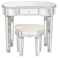Desk Lucia Mirrored  & Stool, Vanities & Dressing Tables