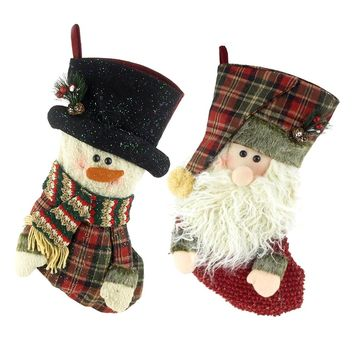 Christmas Santa & Snowman 3D Stocking, 16-Inch, 2-Piece
