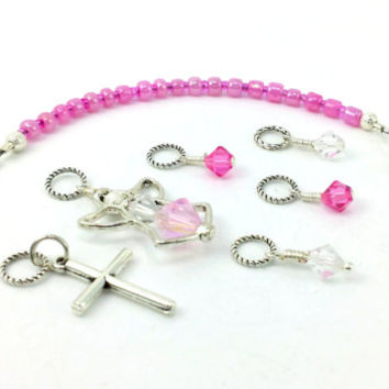 Stitch Marker - Knitting Accessory - Row Counter - Crochet Accessory - Angel Charm - Pink Stitch Markers - Knitting Lanyard - Crochet Charm