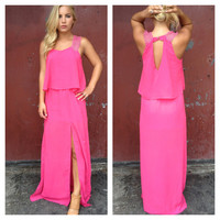 Fuschia Double Slit Jill Maxi Dress