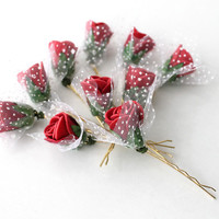 Set of 10 Red Rose Floral Hair Clips, Bridal Hair Accessories, Wedding Hair Accessories,